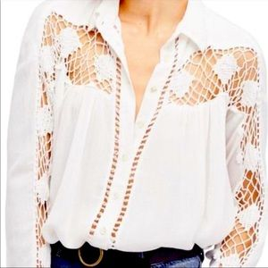 Free People Katie Bird Crochet Inset Ivory Blouse